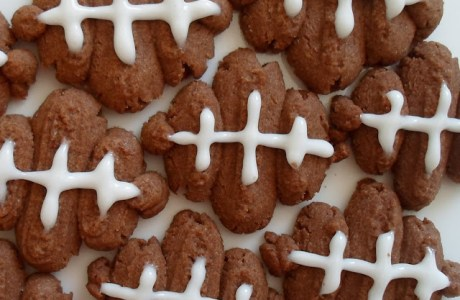 Chocolate Peanut Butter Football Spritz Cookies