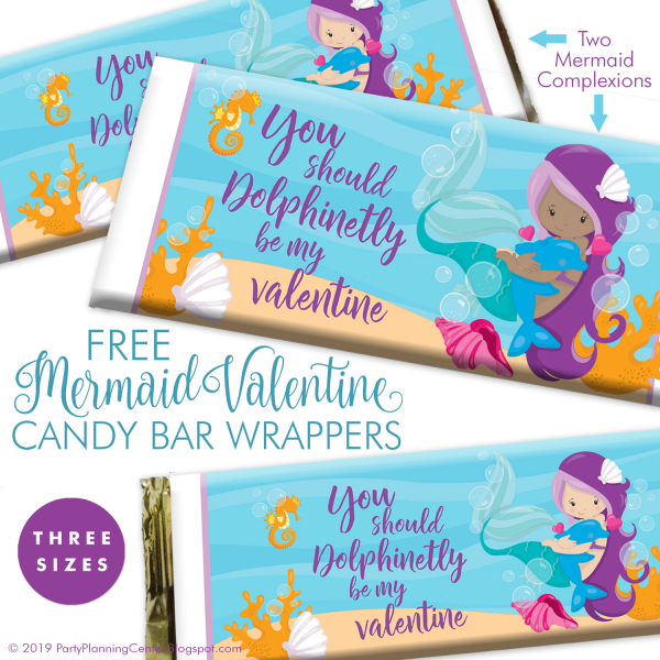 picture regarding Printable Candy Wrappers known as Valentines Working day Printable Mermaid Sweet Bar Wrappers
