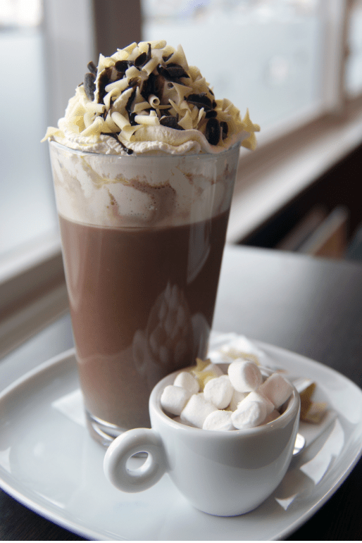hot chocolate and chocolate milkshake with whipped cream