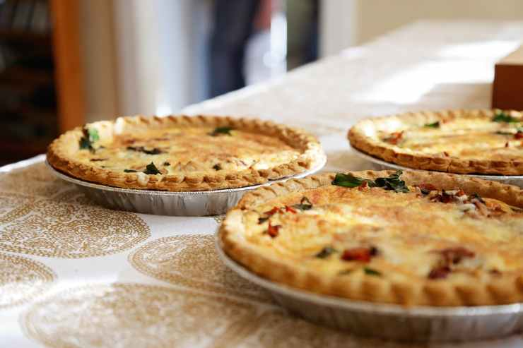 Three quiches on a table