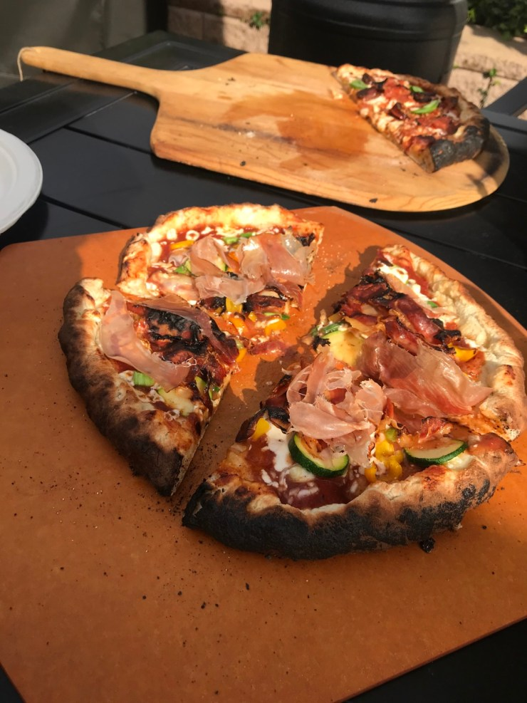 pizzas after baking in a woodfired oven
