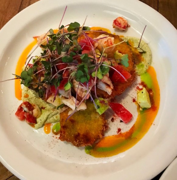 Lobster and fried green tomato salad