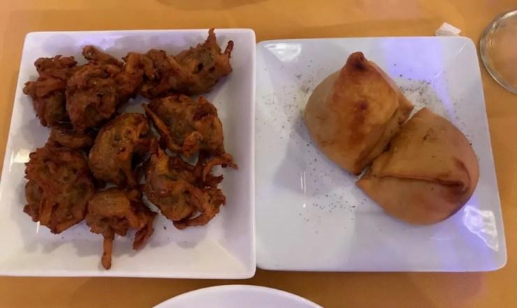onion bhaji and vegetable samosas