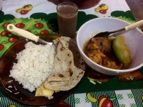 Meal with the Maya family: Cacao drink.