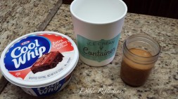 Whipped cream, ice cream container and dulce de leche