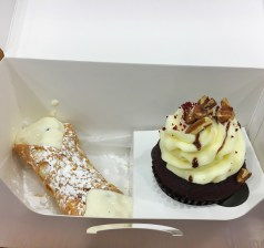 Cannoli and red velvet cupcake