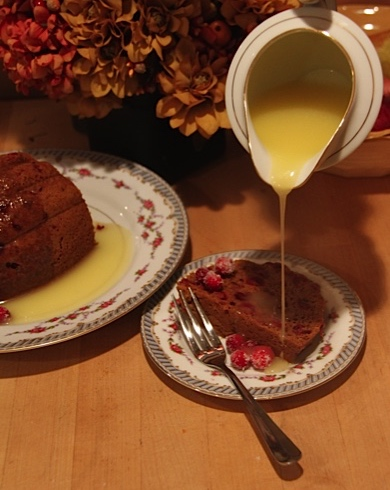 Steamed Cranberry Pudding drizzled with Butter Sauce