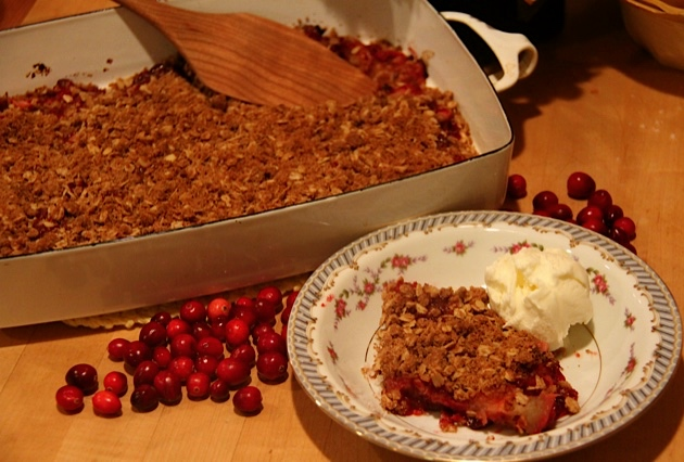 Warm Cranberry Crunch with Ice Cream