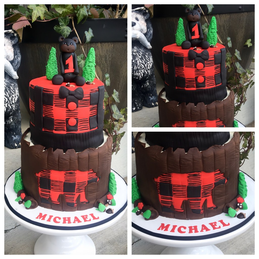 plaid bear Cake tutorial