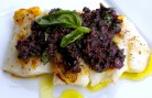 Pan-Roasted Halibut with a Fig & Olive Tapenade.