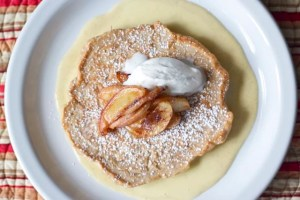 Copycat Bongo Room pancakes with creme anglaise.