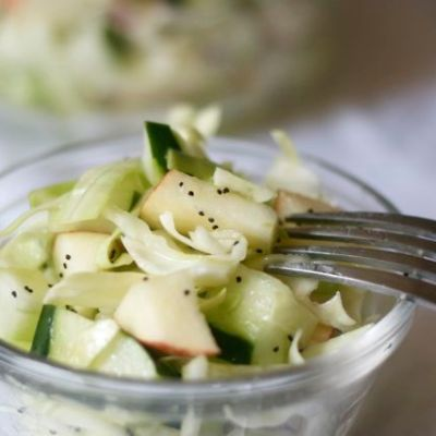 Apple & cucumber slaw with poppy seed dressing