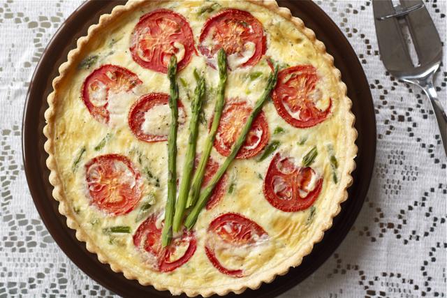 Asparagus-tomato quiche.