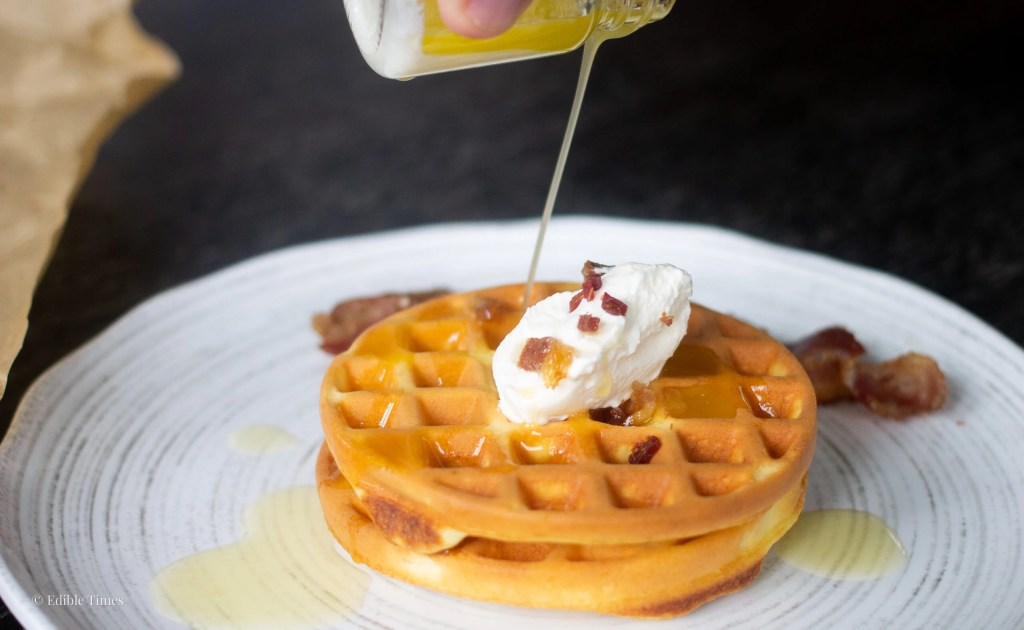 Drizzling butter onto chaffle, Edible Times