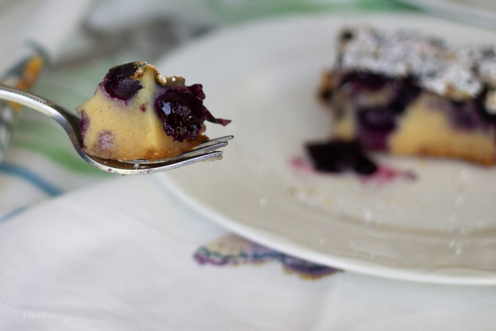 Honey Blueberry Clafoutis on fork from Edible Times