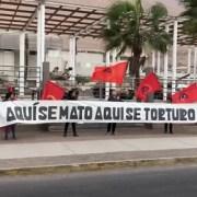 JJCC realizan intervención social en frontis de lo que fuera  centro de tortura y detención, Regimiento Telecomunicaciones
