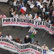Trabajadores asistentes de la educación de Cormudesi, en tercer día de huelga, ocupan pasillos de municipio