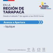 Iquique avanza a fase de Apertura en Plan Paso a Paso.Alto Hospicio y Huara se mantienen en Preparación.