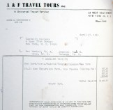 Ileana Sonnabend Andy Warhol: photocopy of invoice for 4 plane tickets for Andy Warhol, Edie Sedgwick, Gerard Malanga, and Chuck Wein to go from New York to Paris for Warhol's opening at Sonnabend Gallery