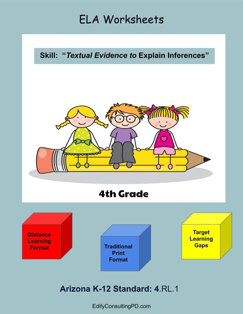 hight resolution of Arizona Worksheets 4.RL.1 - Quote From the Text To Explain Inferences -  Edify Consulting