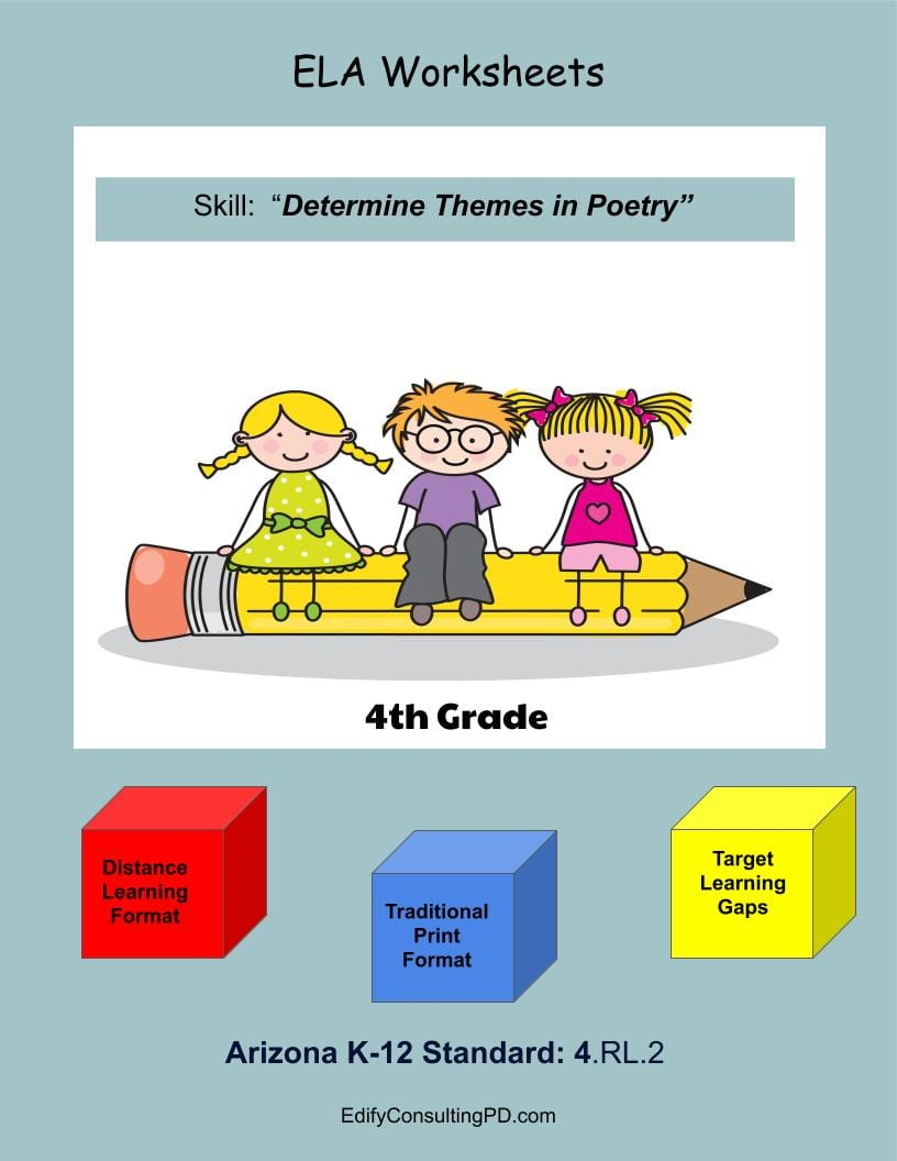 medium resolution of Arizona Worksheets 4.RL.2 - Determine Themes In Poetry - Edify Consulting