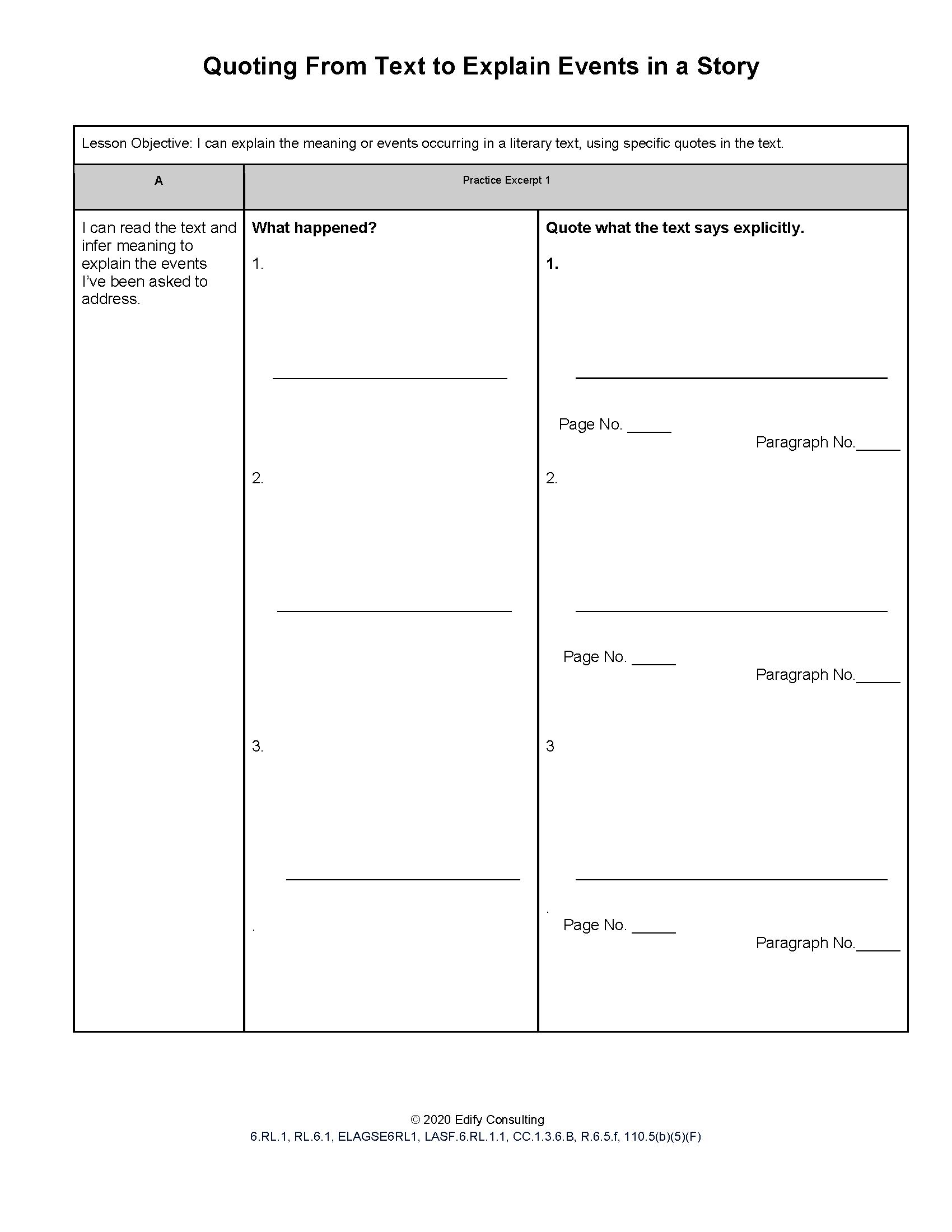 Indiana Worksheets 6 Rl 1