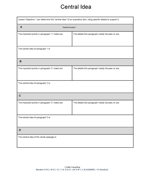 small resolution of Illinois Worksheets RI.6.2 - Central Idea - Edify Consulting
