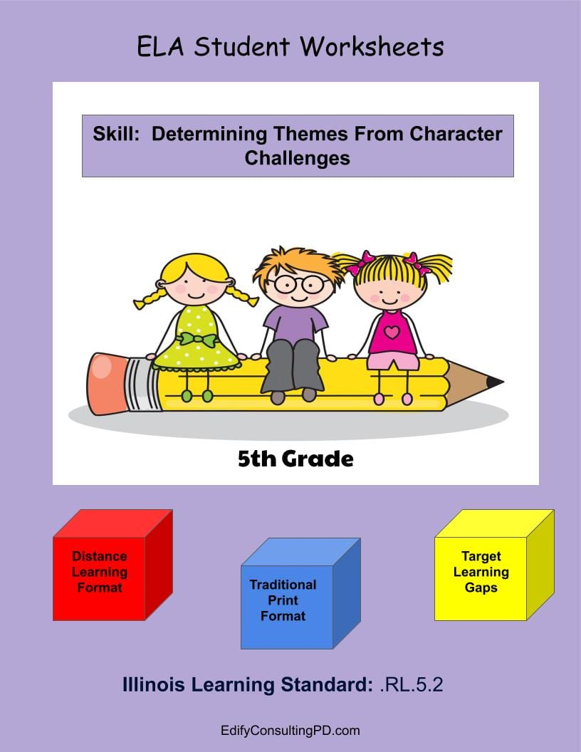 medium resolution of Illinois Worksheets RL.5.2 - Determine Theme From Character Challenges -  Edify Consulting