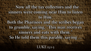 Jesus caught eating with sinners