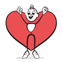 Stick man who is all heart