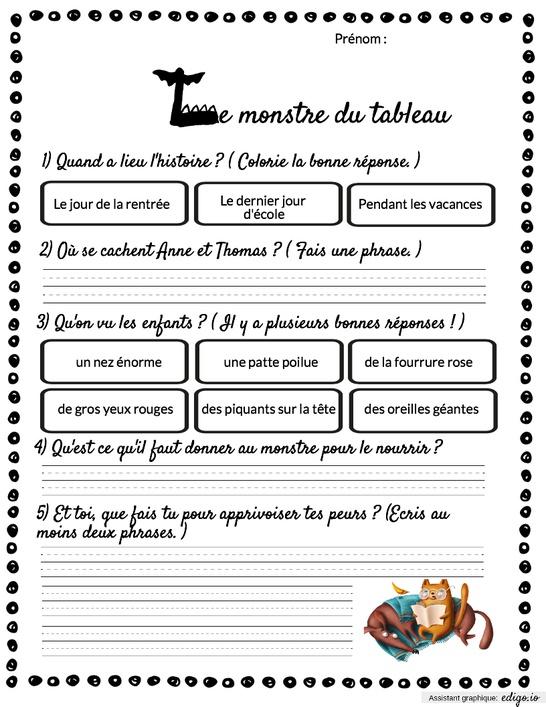 Le Monstre Du Tableau Cp : monstre, tableau, Monstre, Tableau,, Exercices, Activités,, Lecture, Edigo