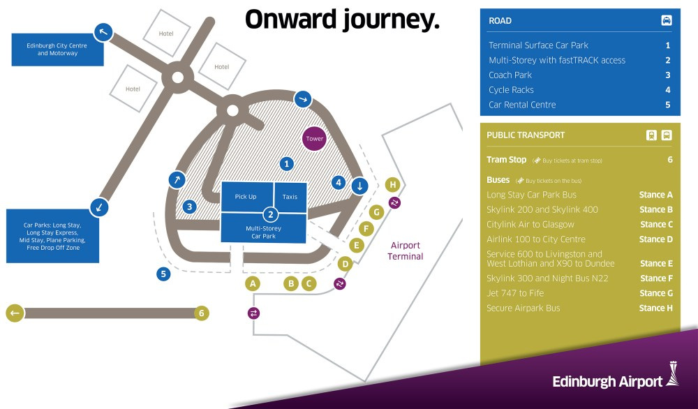 medium resolution of edinburgh airport road map transport options and car parks