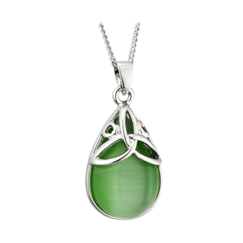 Rhodium Green Cat Eye Trinity Knot Pendant