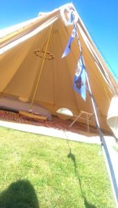 sunny days clamping at Edinburgh festival Camping Bell Tents