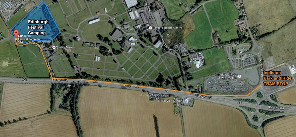 Walking route between Ingliston Park and Ride Tram and Edinburgh Festival Camping