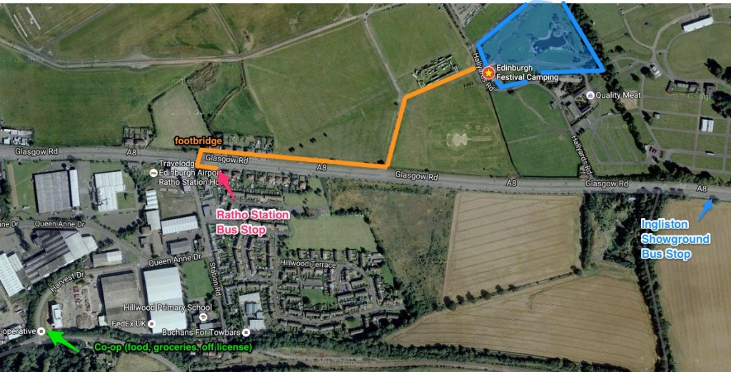 Walking route between Ratho Station Bus Stop and Edinburgh Festival Camping