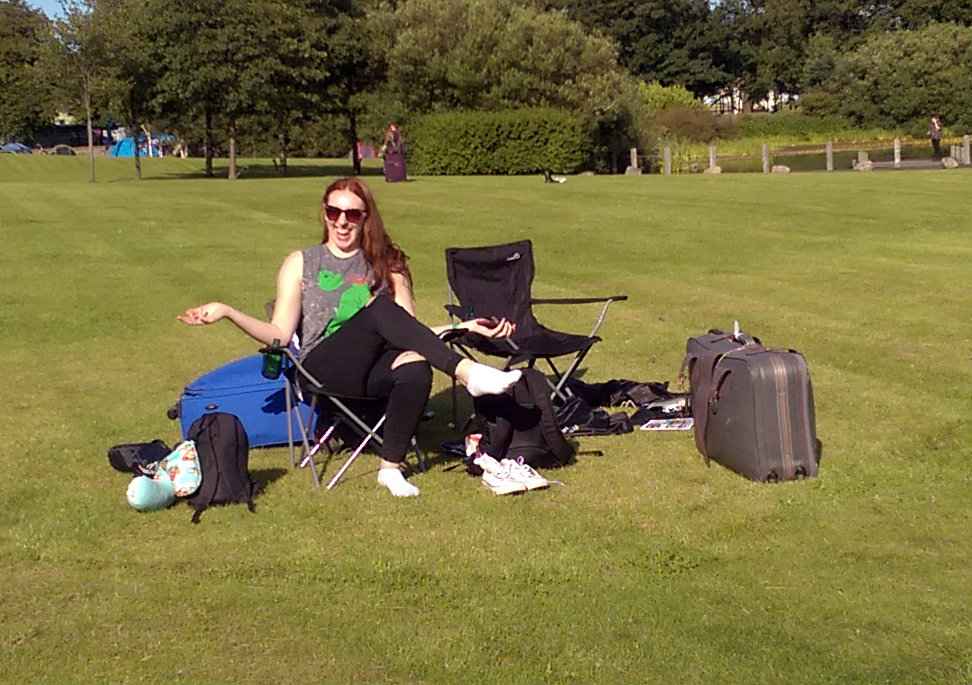 Hannah Operation Perfect Teaset before setting up tent at Edinburgh Festival Camping