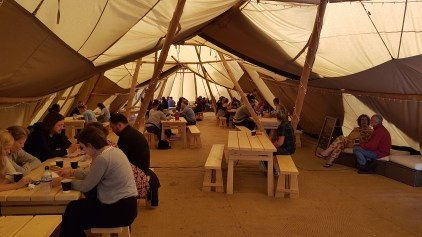 Inside the Giant Tipis at breakfast