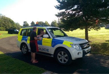 The Police stopping by for their breakfast bacon roll and coffee