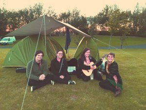 The lovely Cedarfolk camping in the Performers Area at Edinburgh Festival and Fringe Camping