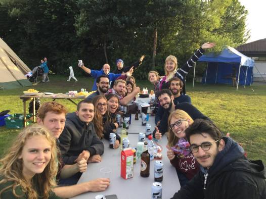 Our 2017 crew sharing a meal and some drinks!