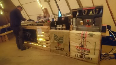 Breakfast, fresh coffee, snacks and paninis served in the tipis daily