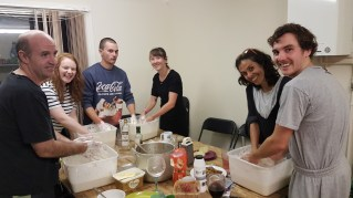 Our crew making fresh sourdough for Pizza Night