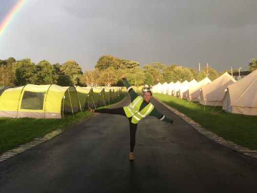 One of our helpers in the Pre-Pitched Camping area
