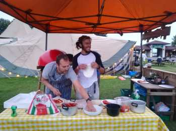 Making woodfired pizzas at Edinburgh Festival Camping