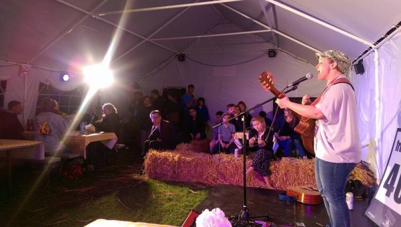 Hannah Griffiths, performing at the Edinburgh Festival Camping Fringe Venue set inside a giant Tipi bar.