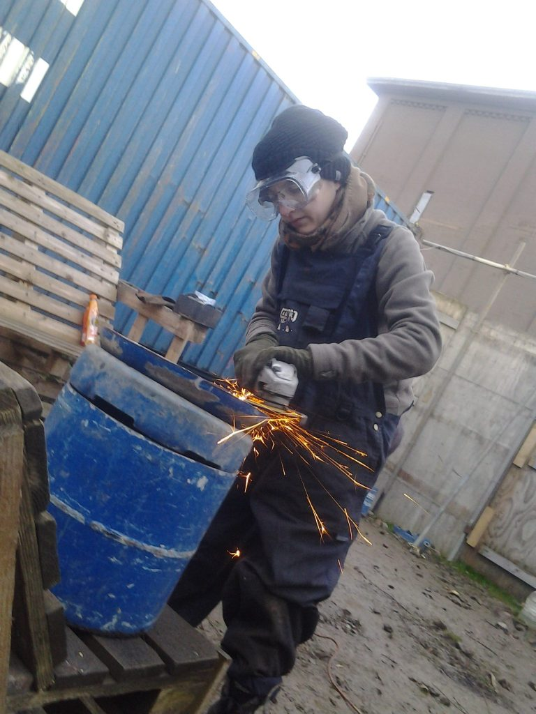Making a tongue drum at the Forge