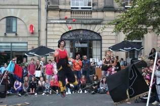 Super Unicycle Juggling Balls Climbing Slack Rope at Edinburgh Fringe