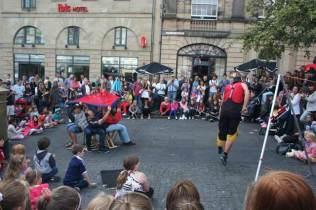 Super Unicycle Juggling Climbing Slack Rope at Edinburgh Fringe