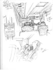 Sketches from on the bus: Top - view from the back; Bottom - sleeping en route; Left - an amusing sign seen on a door in Luss